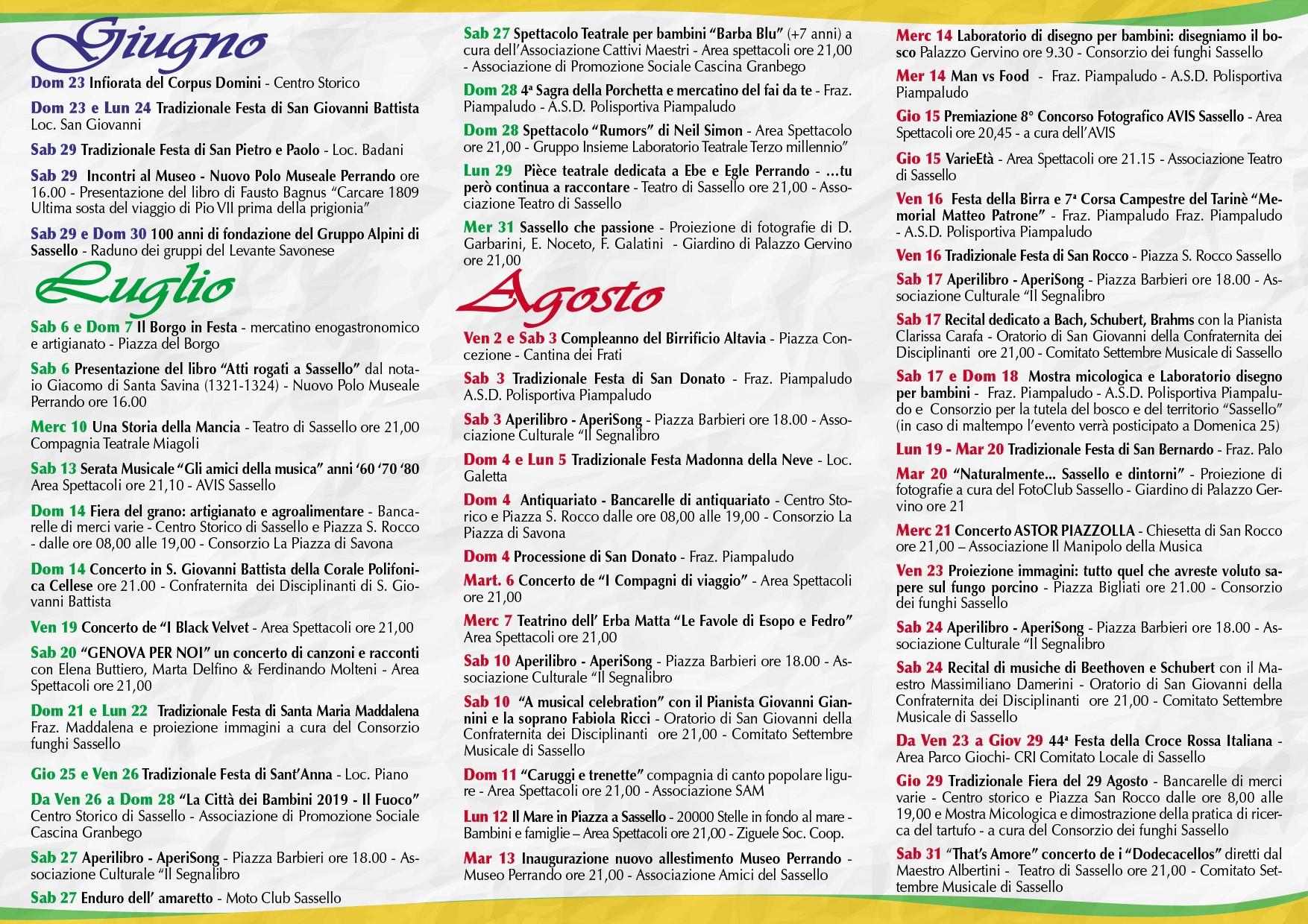Calendario Eventi.Calendario Eventi 2019 Feel Sassello Territori Narranti